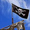 Pirate flag on ships mast Print by Garry Gay
