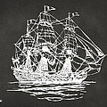 Pirate Ship Artwork - Gray Print by Nikki Marie Smith