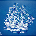 Pirate Ship Blueprint Artwork Print by Nikki Marie Smith