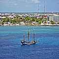 Pirate Ship in Cozumel Print by Aimee L Maher