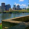 Pittsburgh Pennsylvania Skyline and Bridges as seen from the North Shore Print by Amy Cicconi