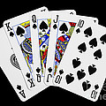 Playing Cards Royal Flush on Black Background Print by Natalie Kinnear