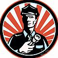 Policeman Security Guard With Flashlight Retro Poster by Aloysius Patrimonio