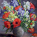 Poppies and Irises Poster by Anthea Durose