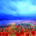 Poppies in the mist Print by Valerie Anne Kelly