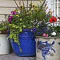 Porch flowers Print by Steve and Sharon Smith