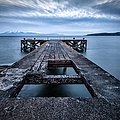 Portencross Pier  and views to Arran Poster by John Farnan