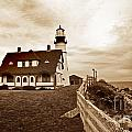 PORTLAND HEAD LIGHTHOUSE IN SEPIA Print by Skip Willits