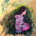 Portrait of a girl. Golden Days of Childhood Print by Christine Montague