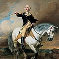 Portrait of George Washington Taking The Salute At Trenton Poster by John Faed