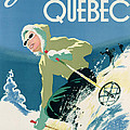 Poster advertising skiing holidays in the province of Quebec Poster by Canadian School