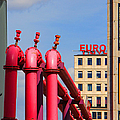 Potsdamer Platz Pink Pipes In Berlin Print by Ben and Raisa Gertsberg
