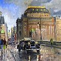 Prague National Theatre Old Car Print by Yuriy  Shevchuk