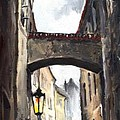 Prague Old Street 02 Print by Yuriy  Shevchuk