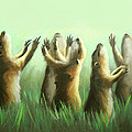 Praising Prairie Dogs Poster by Anthony Falbo