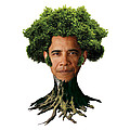 President Barack Obama as a tree Print by Marian Voicu