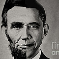 President Obama Meets President Lincoln Poster by Michael Braham