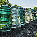 Pretty Glass Insulators All in a Row Poster by Deborah Smolinske
