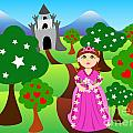 Princess and castle landscape Poster by Sylvie Bouchard