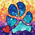 Puppy Love - Colorful Dog Paw Art By Sharon Cummings Print by Sharon Cummings