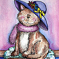 Purple Hat Cat Poster by Danise Abbott