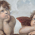 Putti detail from The Sistine Madonna Print by Raphael