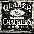 Quaker Crackers Rustic Sign for Kitchen in Black and White Poster by Lisa Russo
