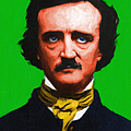 Quoth The Raven Nevermore - Edgar Allan Poe - Painterly - Green - With Text Print by Wingsdomain Art and Photography