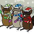 Raccoons Winter Print by Christy Beckwith
