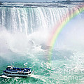 Rainbow and tourist boat at Niagara Falls Poster by Elena Elisseeva