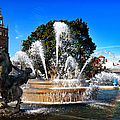 Rainbow in the JC Nichols Memorial Fountain Print by Andee Photography