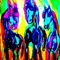Rainbow stallions Poster by Hilde Widerberg