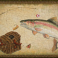 Rainbow Trout-Green Damask Print by Jean Plout