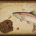 Rainbow Trout-Red Damask Print by Jean Plout