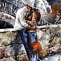Rainy day - Love in the rain Print by Emerico Imre Toth