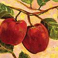 Red Apples on a Branch Poster by Jen Norton