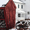 Red Barn in Winter Print by John Rizzuto