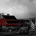 Red Barn On The Farm and Lightning Thunderstorm BWSC Print by James Bo Insogna