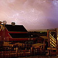 Red Barn On The Farm and Lightning Thunderstorm Poster by James BO  Insogna