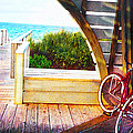 red bike on beach boardwalk Print by Jane Schnetlage
