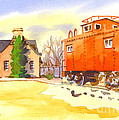 Red Caboose at Whistle Junction Ironton Missouri Poster by Kip DeVore