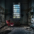 Red Chair - Art Deco Decay - Gary Heller Print by Gary Heller