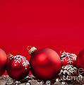 Red Christmas baubles and decorations Poster by Elena Elisseeva