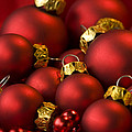Red Christmas Baubles Poster by Anne Gilbert
