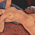 Red Female Nude Painting Print by Amedeo Modigliani