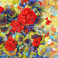 Red Geraniums II Poster by Peggy Wilson
