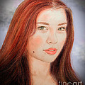 Red Hair and Blue Eyed Beauty with a Beauty Mark II Print by Jim Fitzpatrick