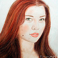 Red Hair and Blue Eyed Beauty with a Beauty Mark Print by Jim Fitzpatrick