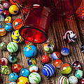 Red jar with marbles Poster by Garry Gay