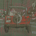 Red Jeep Print by Donald Maier
